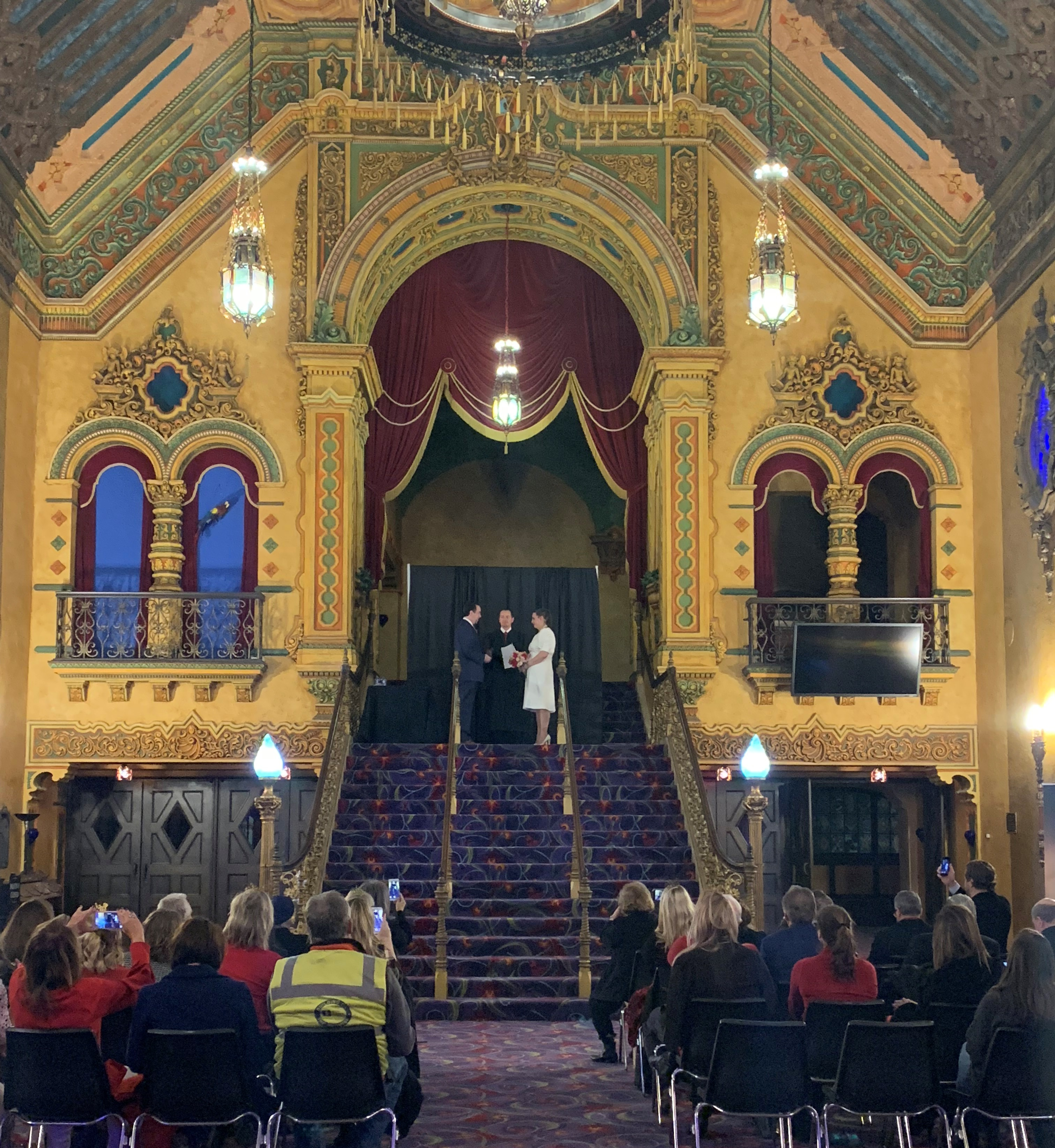 Mr and Mrs Tom and Tia Farmakidis were married at the Akron Civic Theatre on Valentine's Day 2019